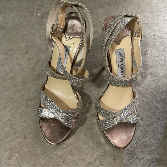 Jimmy Choo Emily Stiletto silver strappy sandals
